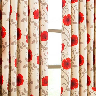 Poppy Flower Panama Print Eyelet Curtains