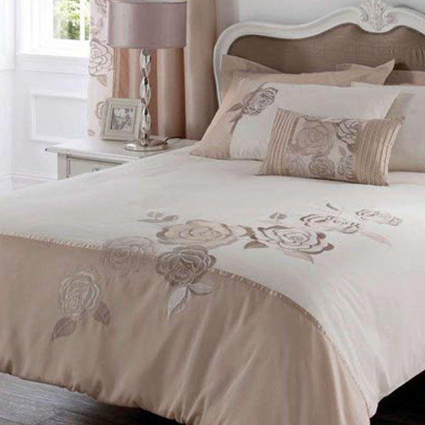 bettw sche set deco rose mit blumenstickerei gold single einzel ebay. Black Bedroom Furniture Sets. Home Design Ideas