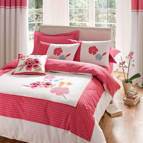 parure housse de couette 1 personne tao avec motif floral rouge ebay. Black Bedroom Furniture Sets. Home Design Ideas