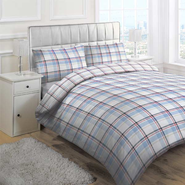 Plaid duvet cover sets also work well for teenagers who are on the cusp of adulthood. Certain styles have a reversible design, with plaid on one side and a solid color on the other. Some sets include multiple pillowcases, ideal for standard pillows and square euro pillows.