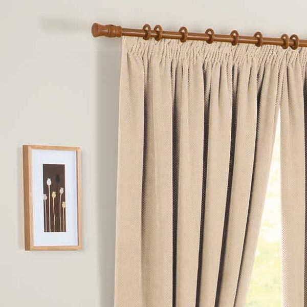 """One pair of Chenille Spot Pencil Pleat 3"""" header Thermal Curtains in ..."""