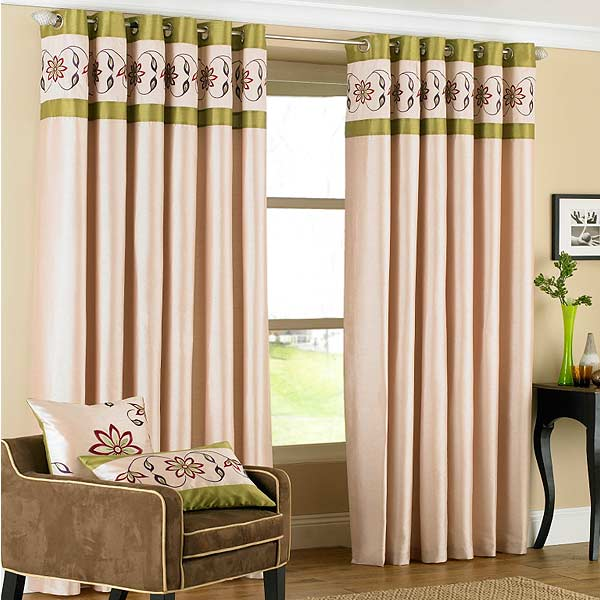 Green Curtains brown cream and green curtains : Riva Home Petra Floral Embroidered Faux Silk Eyelet Curtains | eBay
