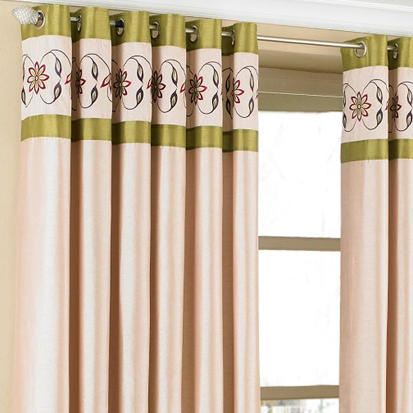 Green Curtains brown cream and green curtains : Petra Floral Embroidered Faux Silk Eyelet Curtains, Cream/Green ...