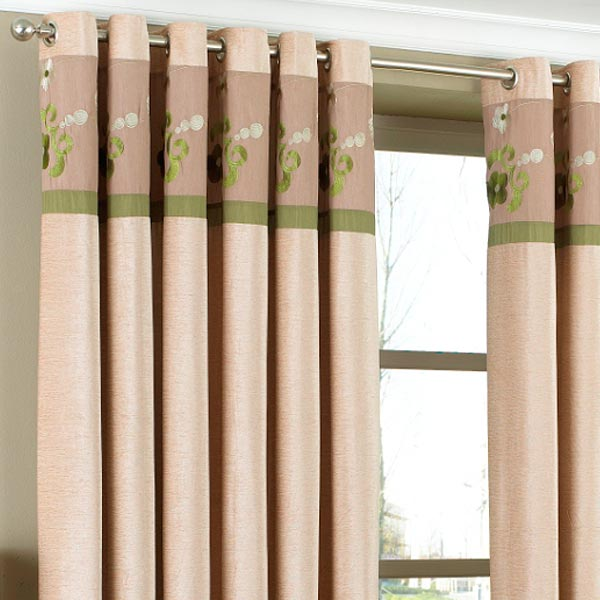 Green Curtains cream green curtains : Riva Home Bloomsbury Floral Top Cuff Chenille Eyelet Curtains   eBay