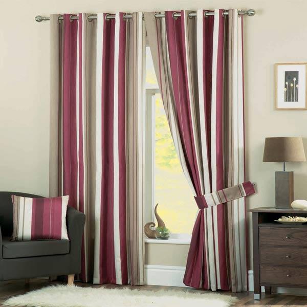 rideaux doubl s avec t te oeillets whitworth d coration rayures rouge bour ebay. Black Bedroom Furniture Sets. Home Design Ideas