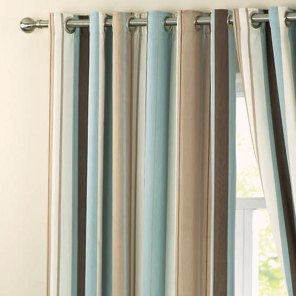 Dreams 'N' Drapes Whitworth Stripe Eyelet Lined Curtains ...
