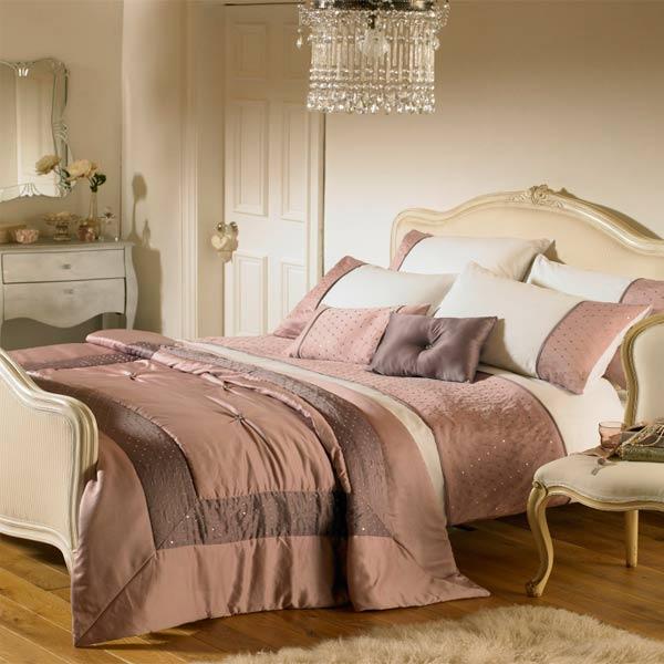 parure housse de couette 2 personnes romantica bandes de satin couleur bruy ebay. Black Bedroom Furniture Sets. Home Design Ideas