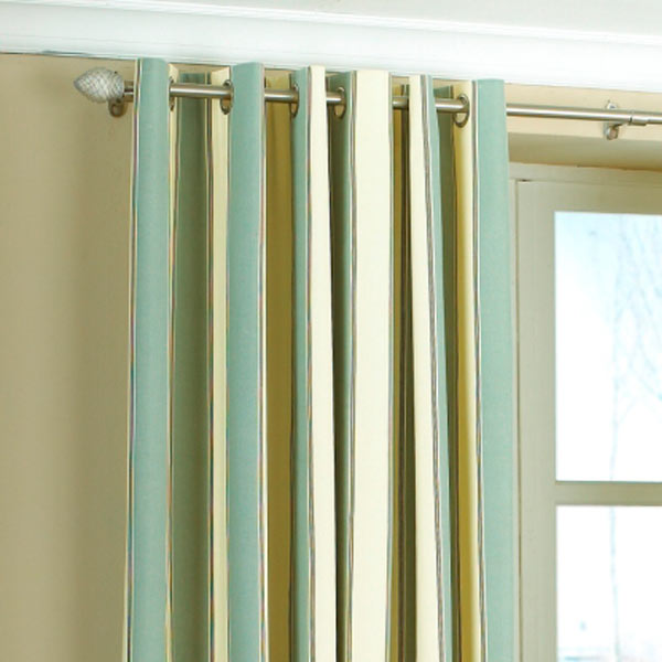 Green Curtains blue and green curtains : Gatsby Stripe Panama Eyelet Lined Curtains | eBay
