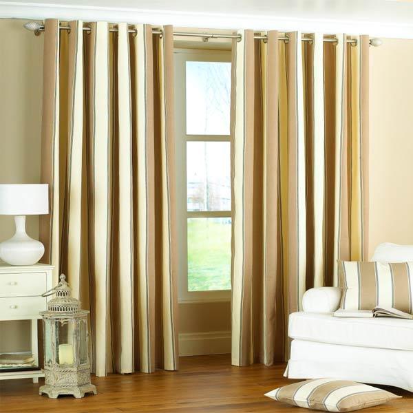 Gatsby Stripe Panama Eyelet Lined Curtains