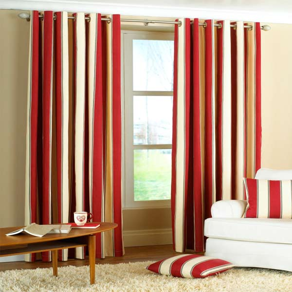 Black And Natural Stripe Curtains