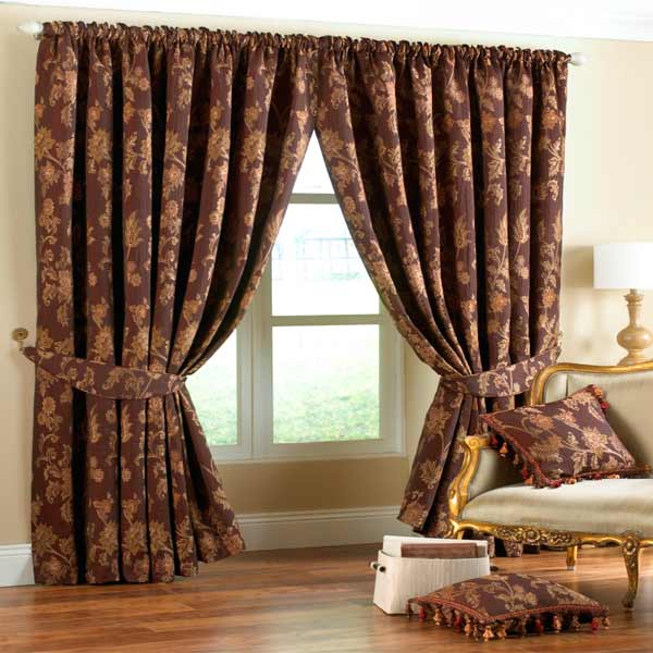 Curtains Ideas burgandy curtains : Paoletti Marlborough Floral Jacquard Pencil Pleat Lined Curtains ...