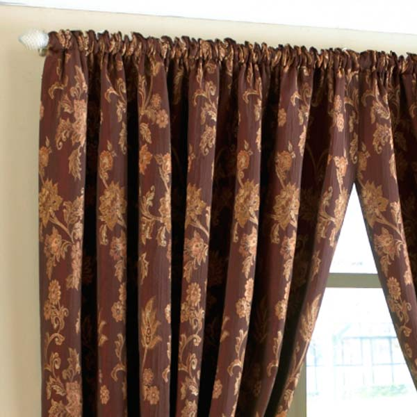 Paoletti Marlborough Floral Jacquard Pencil Pleat Lined Curtains, Burgundy