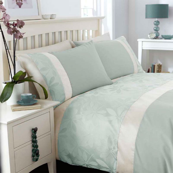 Catherine lansfield home ivory floral jacquard duvet cover for Duck egg blue and cream bedroom ideas