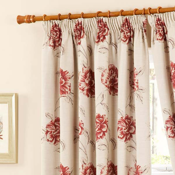 Cotswold Floral Tapestry Pencil Pleat Lined Curtains Red