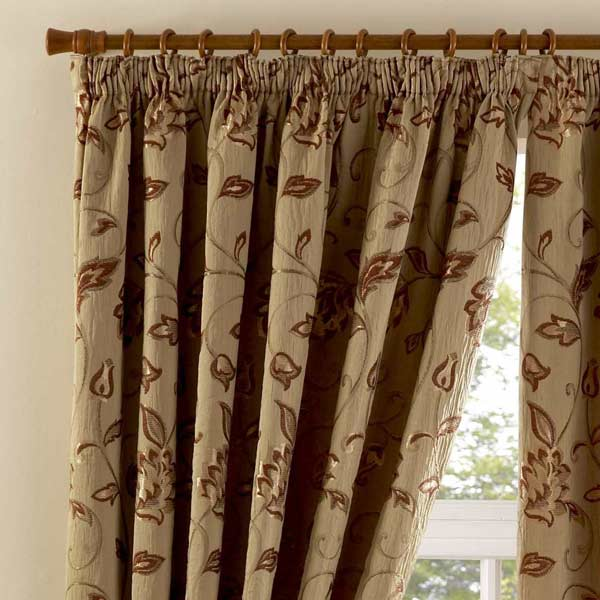 Curtina Maybury Floral Woven Pencil Pleat Lined Curtains | eBay