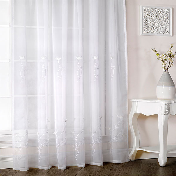 Melissa floral embroidered voile curtain panel ebay