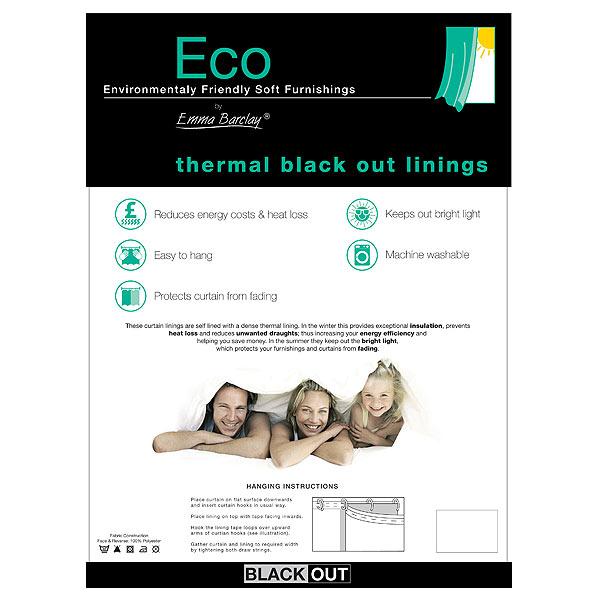 Emma Barclay Thermique Blackout Rideau Doublure blanc paire