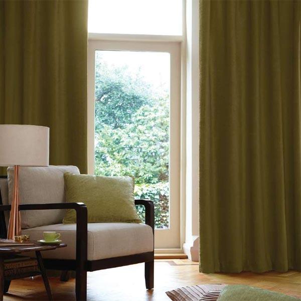 vorh nge mit sen chenille gr n 167 x 183 cm ebay. Black Bedroom Furniture Sets. Home Design Ideas