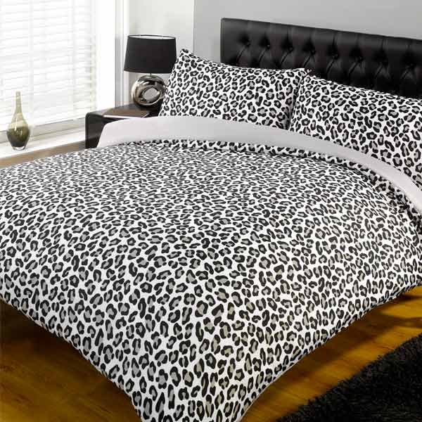 parure housse de couette 2 personnes leopard gris 230 x 220 cm. Black Bedroom Furniture Sets. Home Design Ideas