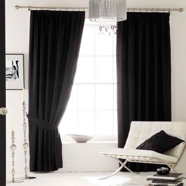 rideaux doubl s oeillets imitation soie encre 228 x 274 cm ebay. Black Bedroom Furniture Sets. Home Design Ideas