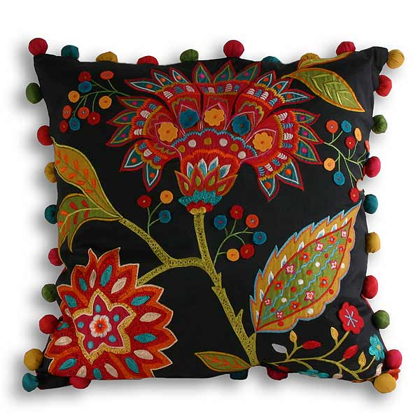 Paoletti Bengal Indian Floral Embroidered Cushion Cover Multi 43