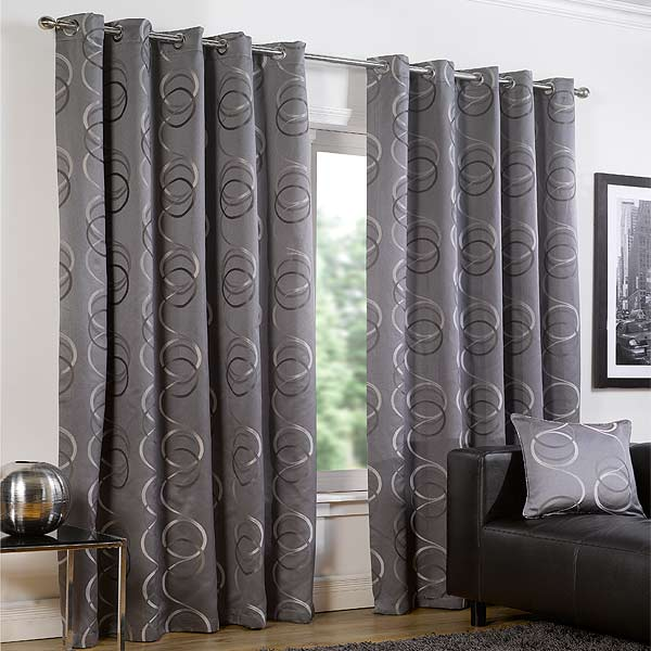 Quebec Circle Print Eyelet Lined Curtains | eBay