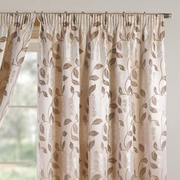 vorh nge davina floral mit kr uselband natur 167 x 137 cm ebay. Black Bedroom Furniture Sets. Home Design Ideas