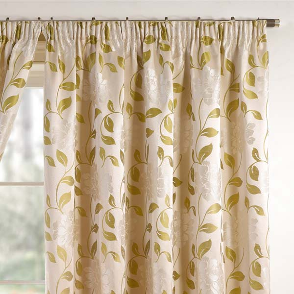 Davina Floral Woven Pencil Pleat Lined Curtains, Moss Green, 46 x 90 Inch