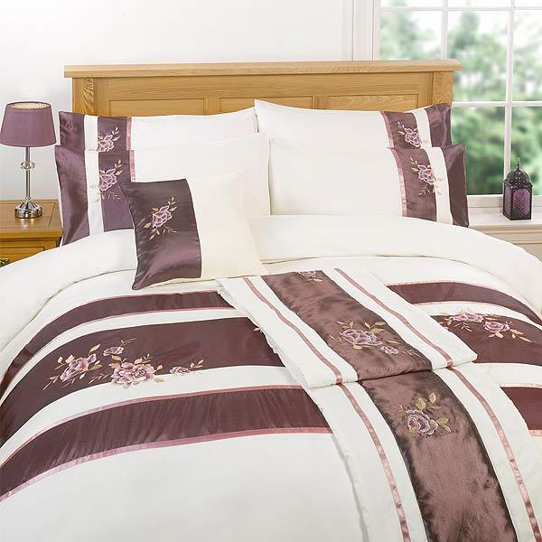 chemin de lit penelope motif floral aubergine 45 x 240 cm ebay. Black Bedroom Furniture Sets. Home Design Ideas