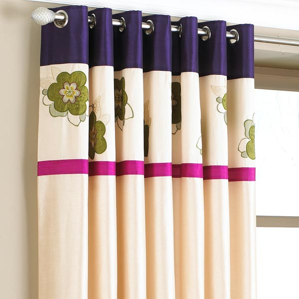 Riva home kyoto floral embroidered lined eyelet curtains