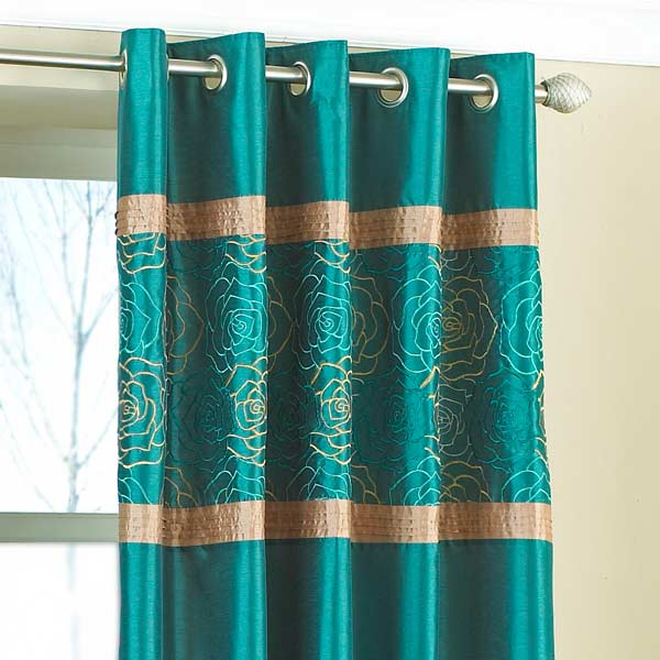 Bella Embroidered Top Panel Faux Silk Eyelet Curtains