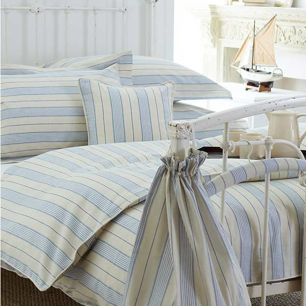 cabana striped 100 cotton duvet cover set cream blue stripe