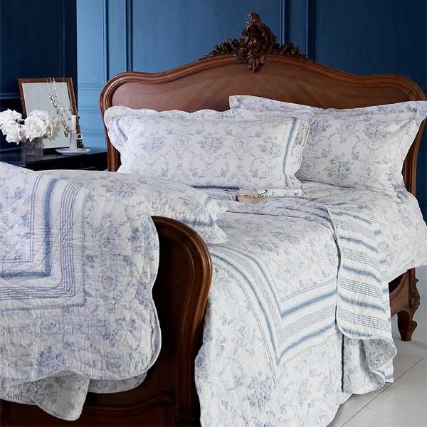 bettw sche set vienna toile de jouy wei blau double doppel ebay. Black Bedroom Furniture Sets. Home Design Ideas