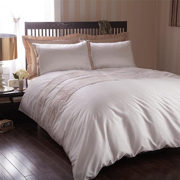 housse de couette 2 pers lucia imitation soie ivoire beige. Black Bedroom Furniture Sets. Home Design Ideas