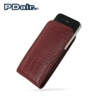 View Item PDair Vertical Leather Pouch for Apple iPhone 4 - Red Croco