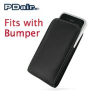 View Item PDair Vertical Leather Pouch for Bumper Equipped iPhone 4 - Black