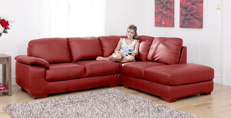 Siena Red Leather Corner Sofa Group Right RHF EBay