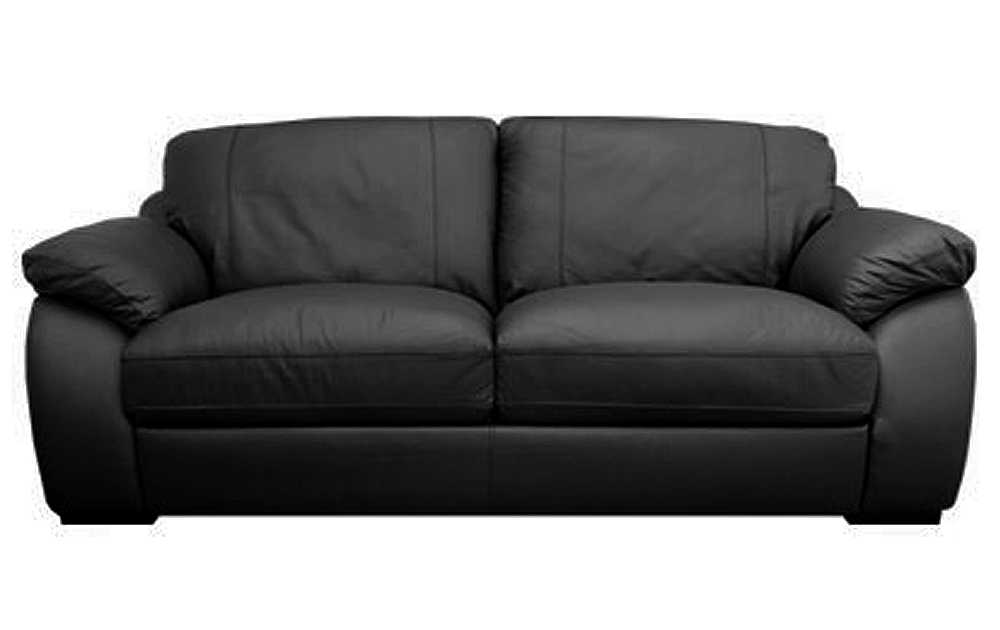 Atlantis Large 3 Seater Black Leather Sofa Sofas Couch Suite Range