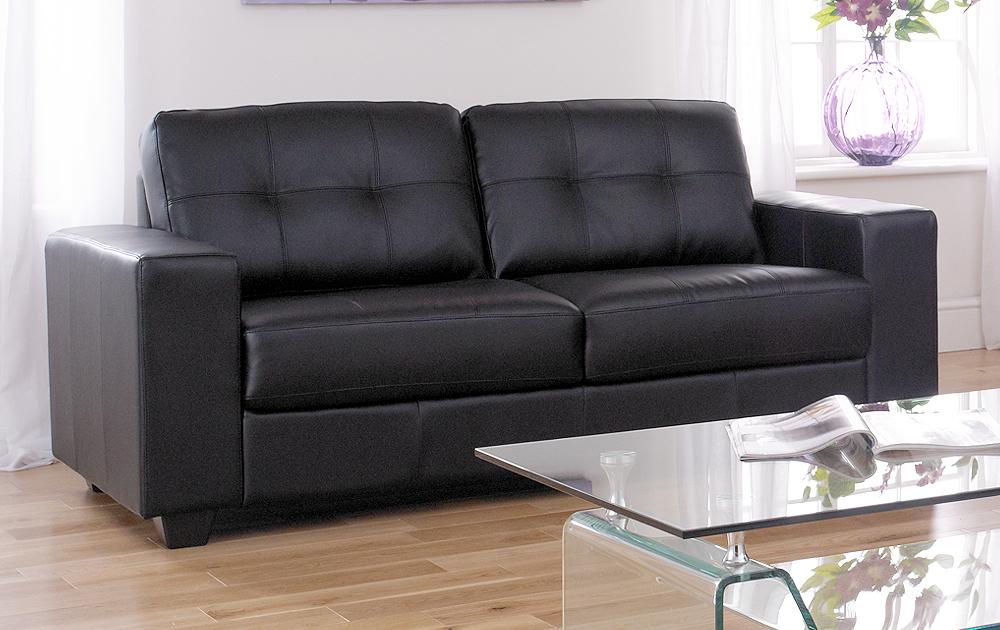 Sale Roma Large 3 Seater Black Square Arm Leather Sofa
