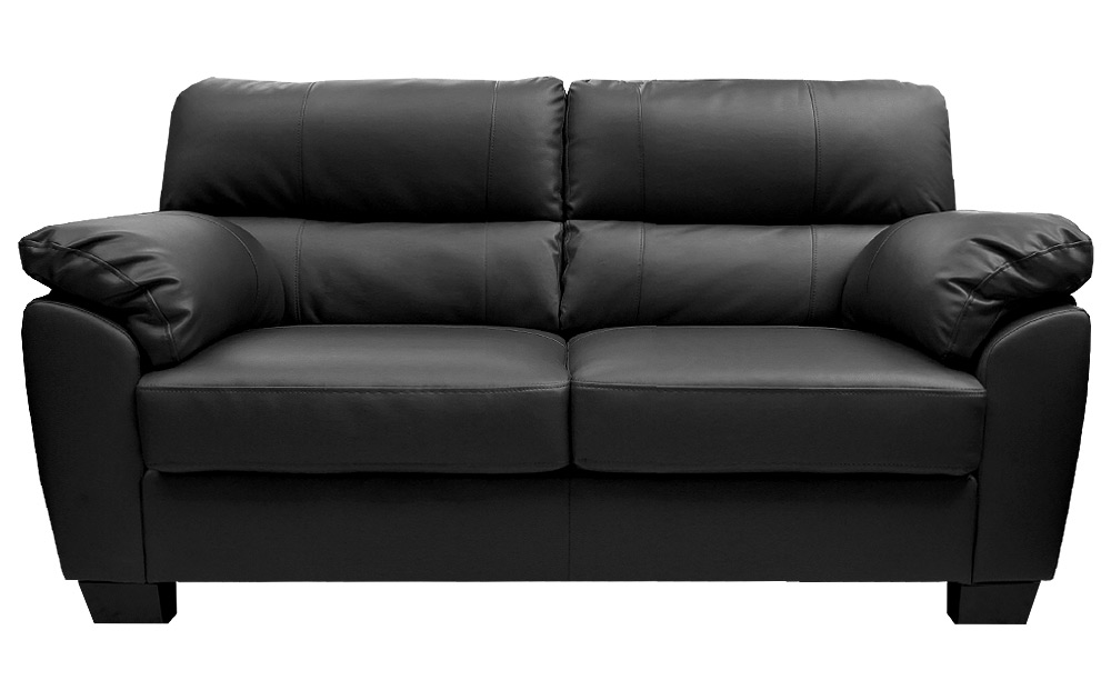Zara Large 3 Seater Black Leather Sofa Sofas Couch Suite Range Settee