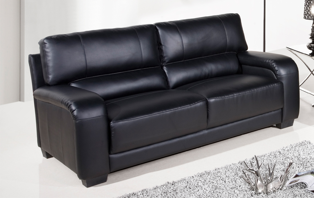 SALE Dior Large 3 Seater Black Leather Sofa Sofas Couch