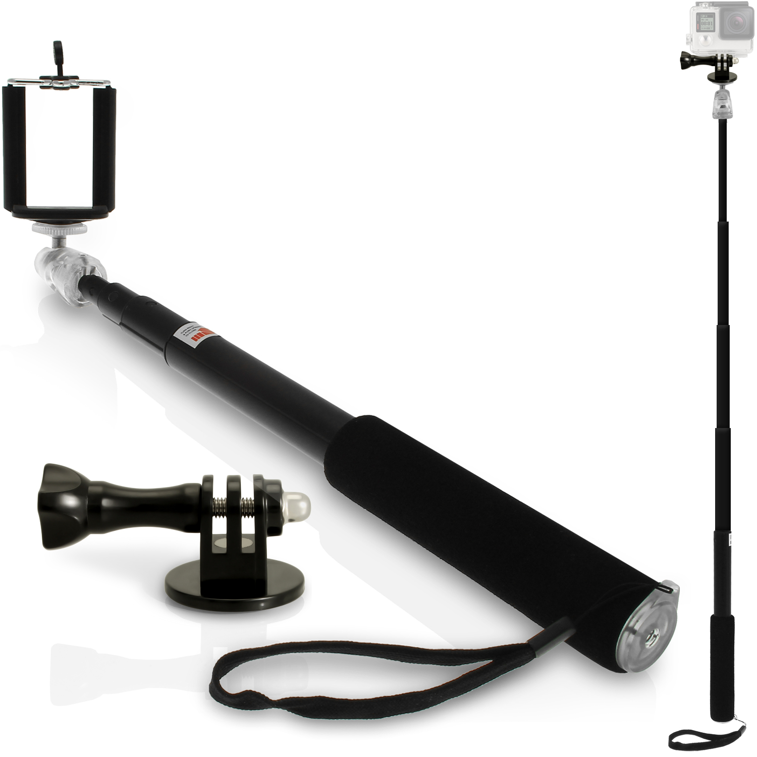 igadgitz multi use black extendable selfie stick with adaptor mount thumb screw nut for. Black Bedroom Furniture Sets. Home Design Ideas
