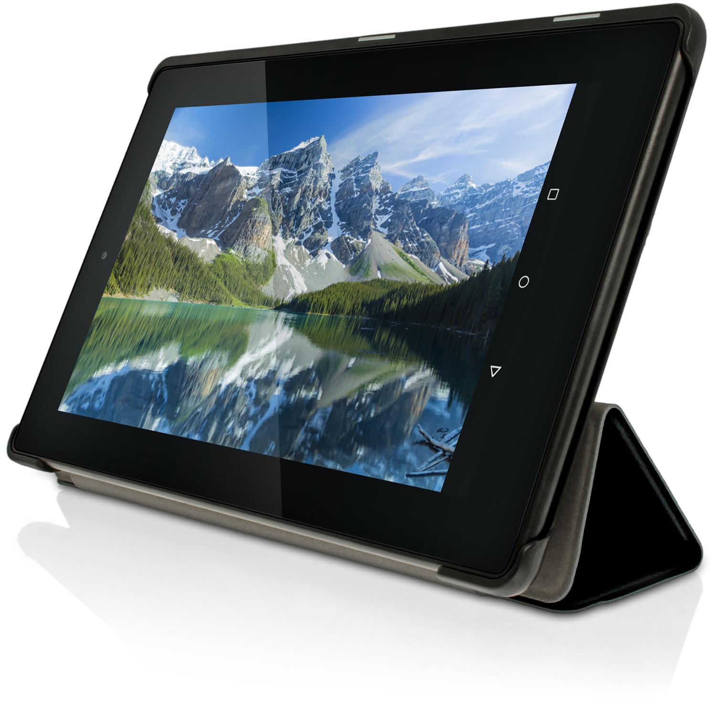 schwarz pu leder smart cover f r amazon fire 7 tablet 2015 tasche h lle case ebay. Black Bedroom Furniture Sets. Home Design Ideas