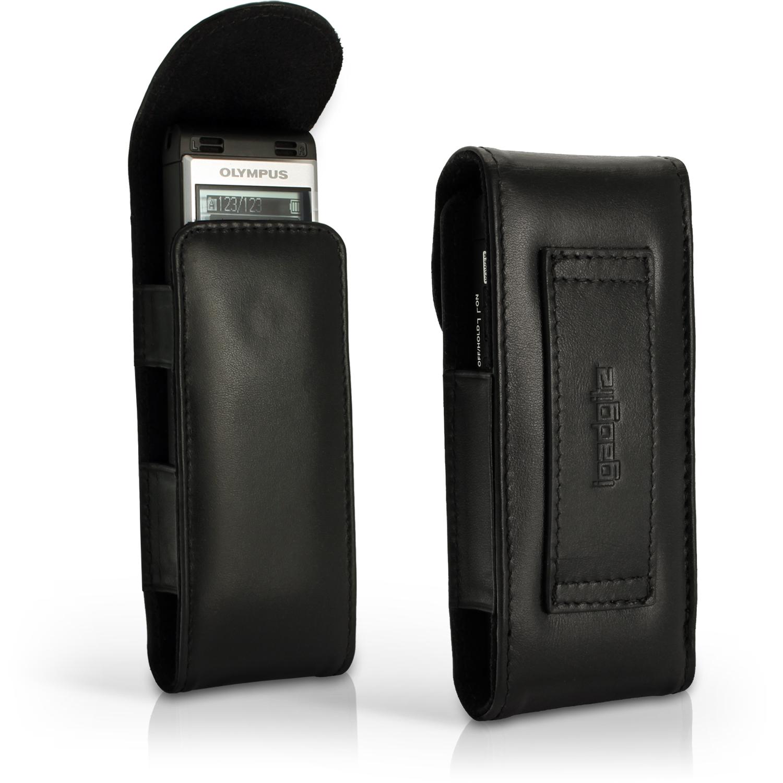 iGadgitz Black Genuine Leather Case Cover for Olympus WS-852 853 Digital Voice Recorder