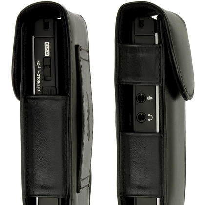 iGadgitz Black Genuine Leather Case Cover for Olympus WS-852 853 Digital Voice Recorder  Thumbnail 4
