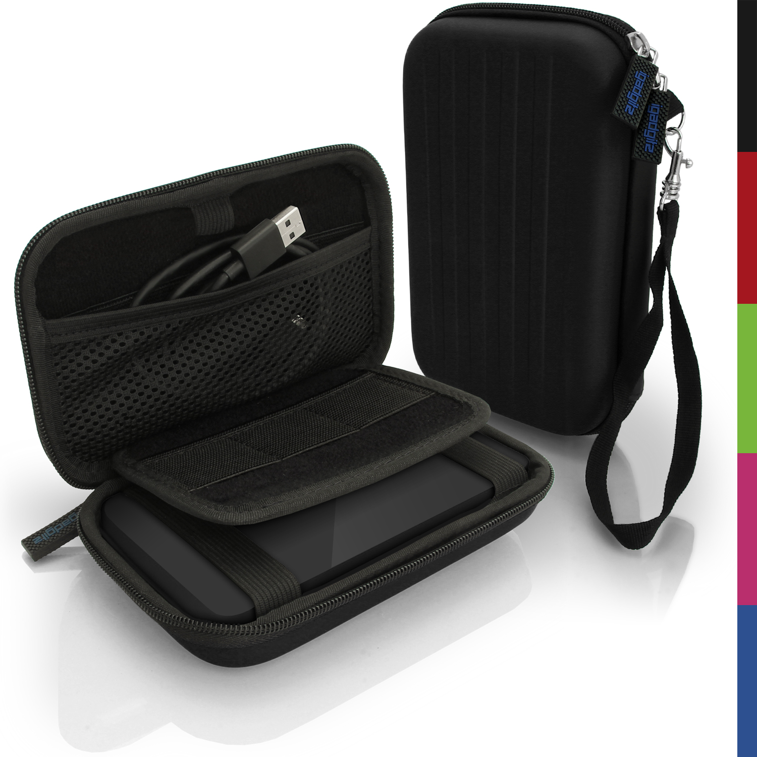 iGadgitz Black EVA Hard Travel Case Cover for Portable External Hard Drives (Internal Dimensions: 142 x 80.6 x 21.6mm)