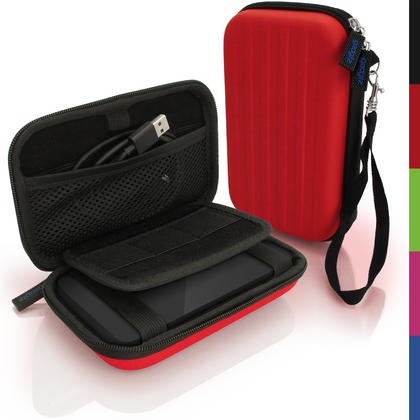 iGadgitz Red EVA Hard Travel Case Cover for Portable External Hard Drives (Internal Dimensions: 142 x 80.6 x 21.6mm) Thumbnail 1
