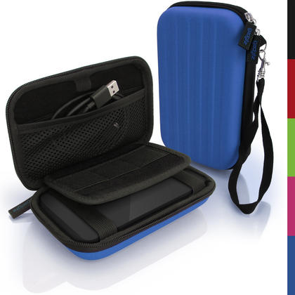 iGadgitz Blue EVA Hard Travel Case Cover for Portable External Hard Drives (Internal Dimensions: 142 x 80.6 x 21.6mm) Thumbnail 1