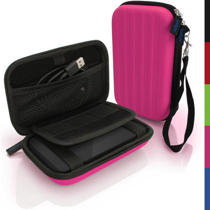iGadgitz Pink EVA Hard Travel Case Cover for Portable External Hard Drives (Internal Dimensions: 142 x 80.6 x 21.6mm) Thumbnail 1