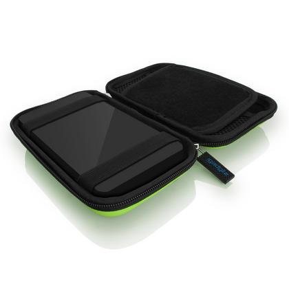 iGadgitz Green EVA Hard Travel Case Cover for Portable External Hard Drives (Internal Dimensions: 160 x 93.5 x 21.5mm) Thumbnail 2